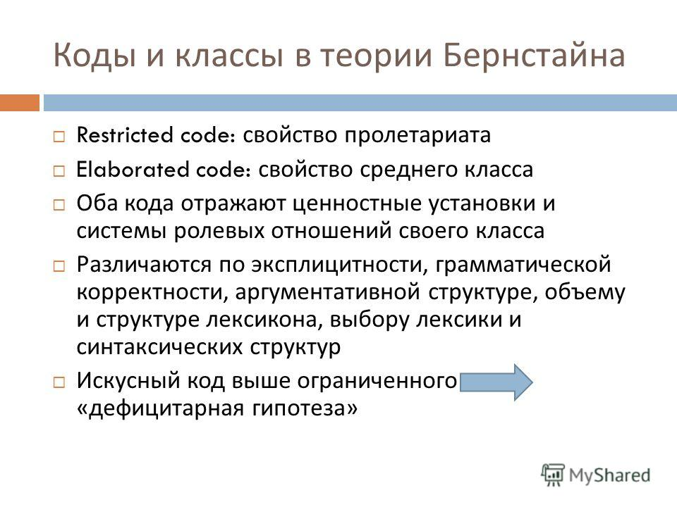 Коды и классы в теории Бернстайна Restricted code: свойство пролетариата Elaborated code: свойство среднего класса Оба кода отражают ценностные установки и системы ролевых отношений своего класса Различаются по эксплицитности, грамматической корректн