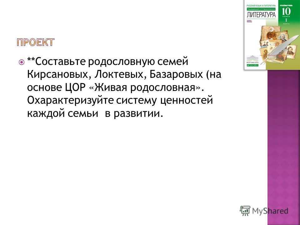 **Составьте родословную семей Кирсановых, Локтевых, Базаровых (на основе ЦОР «Живая родословная». Охарактеризуйте систему ценностей каждой семьи в развитии.