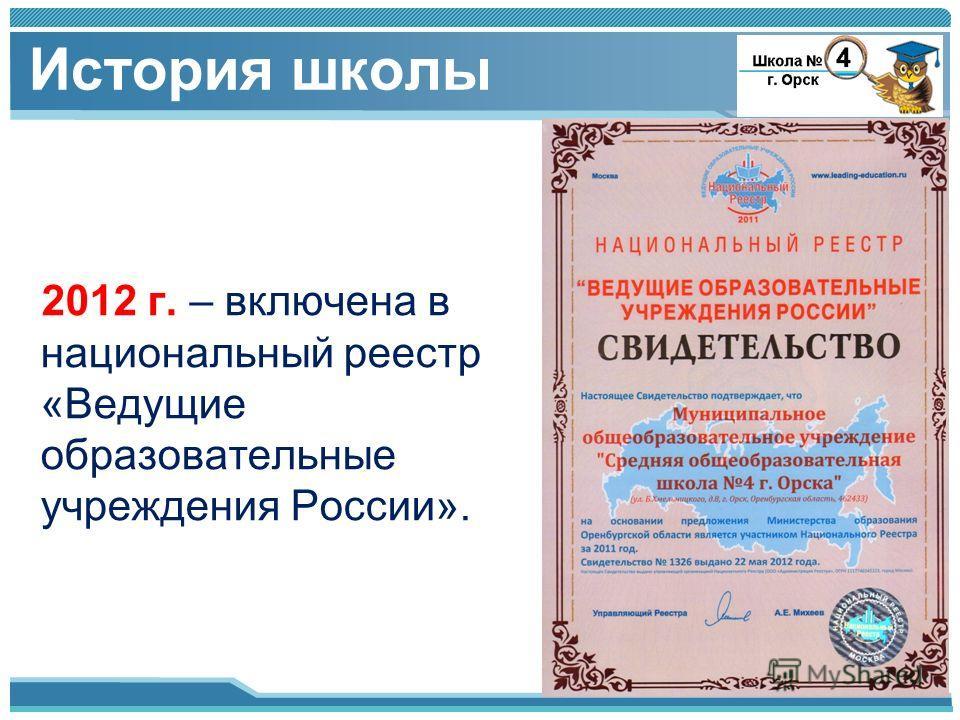 2012 г. – включена в национальный реестр «Ведущие образовательные учреждения России». История школы