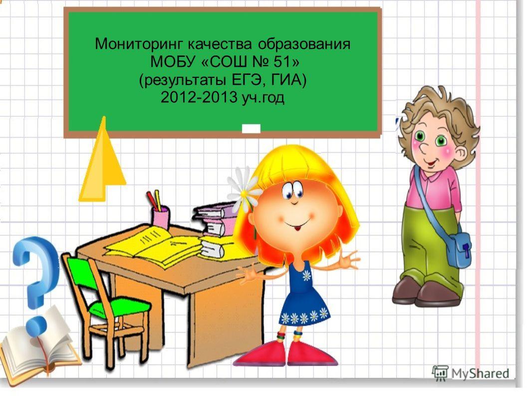 Мониторинг качества образования МОБУ «СОШ 51» (результаты ЕГЭ, ГИА) 2012-2013 уч.год