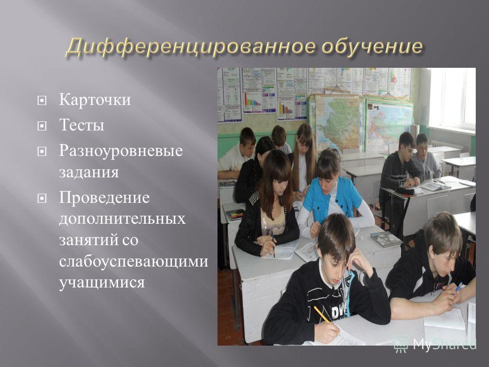 Карточки Тесты Разноуровневые задания Проведение дополнительных занятий со слабоуспевающими учащимися