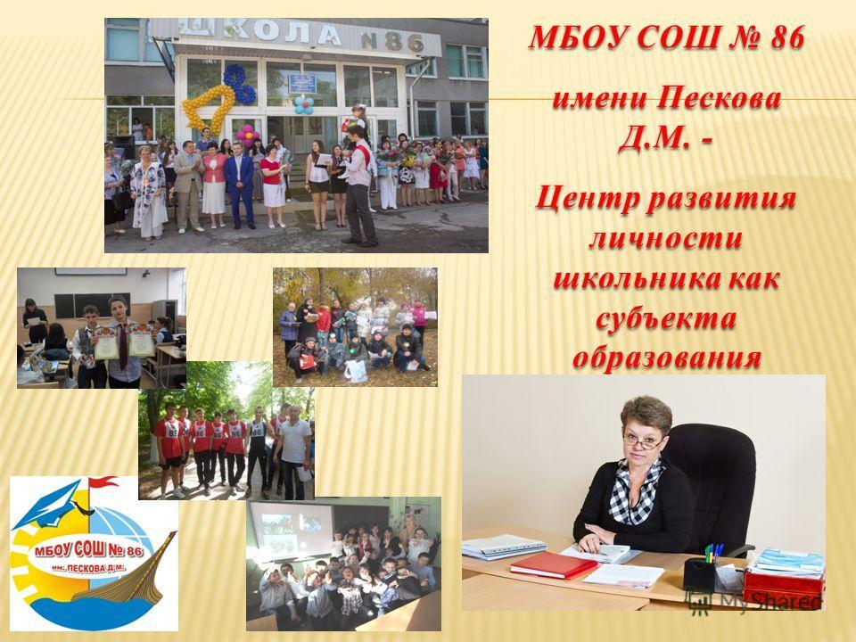 МБОУ СОШ 86 имени Пескова Д.М. - Центр развития личности школьника как субъекта образования