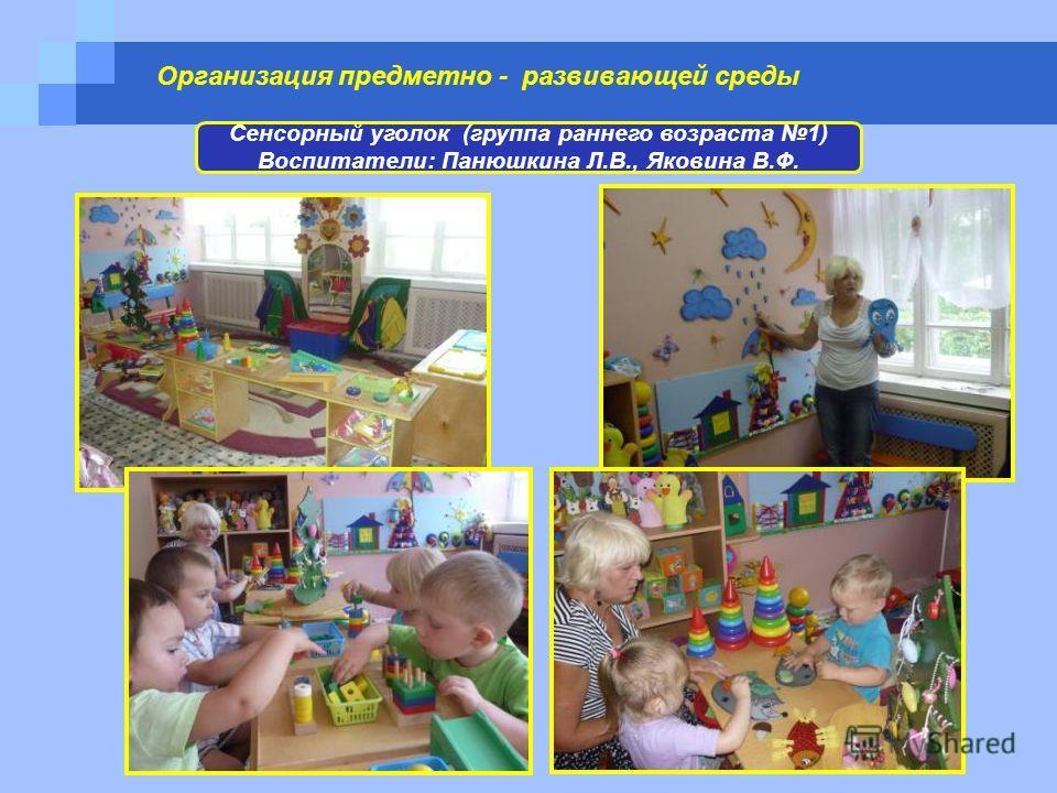 Организация предметно - развивающей среды Сенсорный уголок (группа раннего возраста 1) Воспитатели: Панюшкина Л.В., Яковина В.Ф.