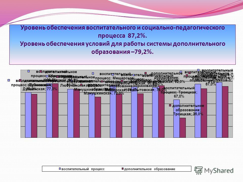 Уровень обеспечения воспитательного и социально-педагогического процесса 87,2%. Уровень обеспечения условий для работы системы дополнительного образования –79,2%.