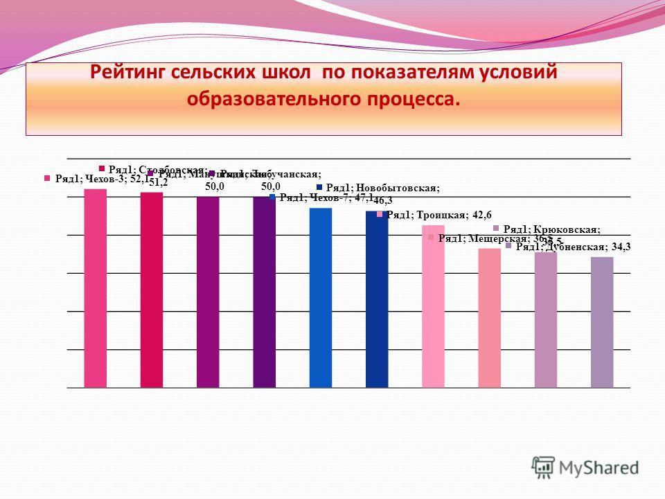 Рейтинг сельских школ по показателям условий образовательного процесса.