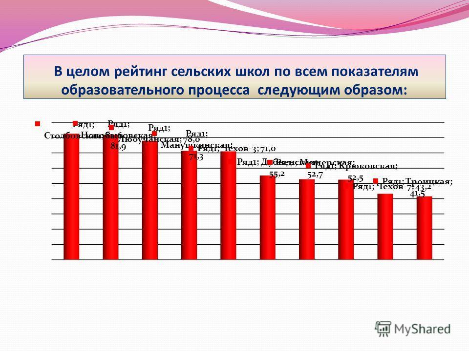 В целом рейтинг сельских школ по всем показателям образовательного процесса следующим образом: