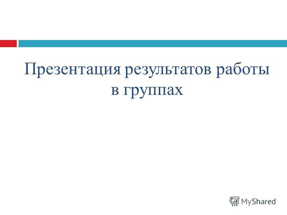 Презентация результатов работы в группах