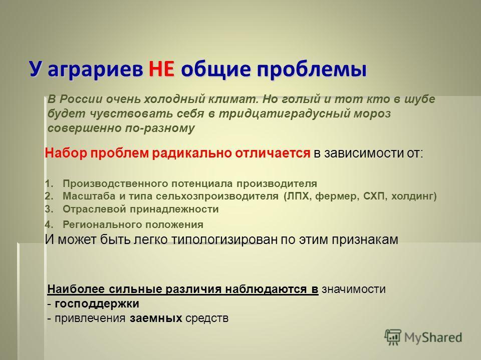У аграриев НЕ общие проблемы В России очень холодный климат. Но голый и тот кто в шубе будет чувствовать себя в тридцатиградусный мороз совершенно по-разному Набор проблем радикально отличается в зависимости от: 1.Производственного потенциала произво