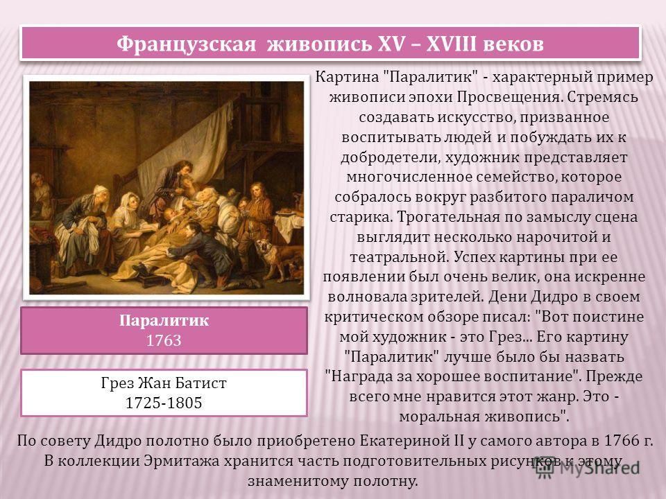 Французская живопись XV – XVIII веков Паралитик 1763 Грез Жан Батист 1725-1805 Картина
