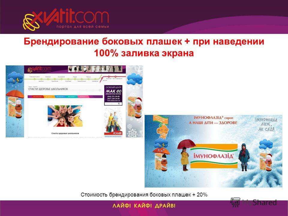 Брендирование боковых плашек + при наведении 100% заливка экрана Стоимость брендирования боковых плашек + 20%