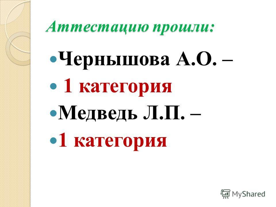 Аттестацию прошли: Чернышова А.О. – 1 категория Медведь Л.П. – 1 категория