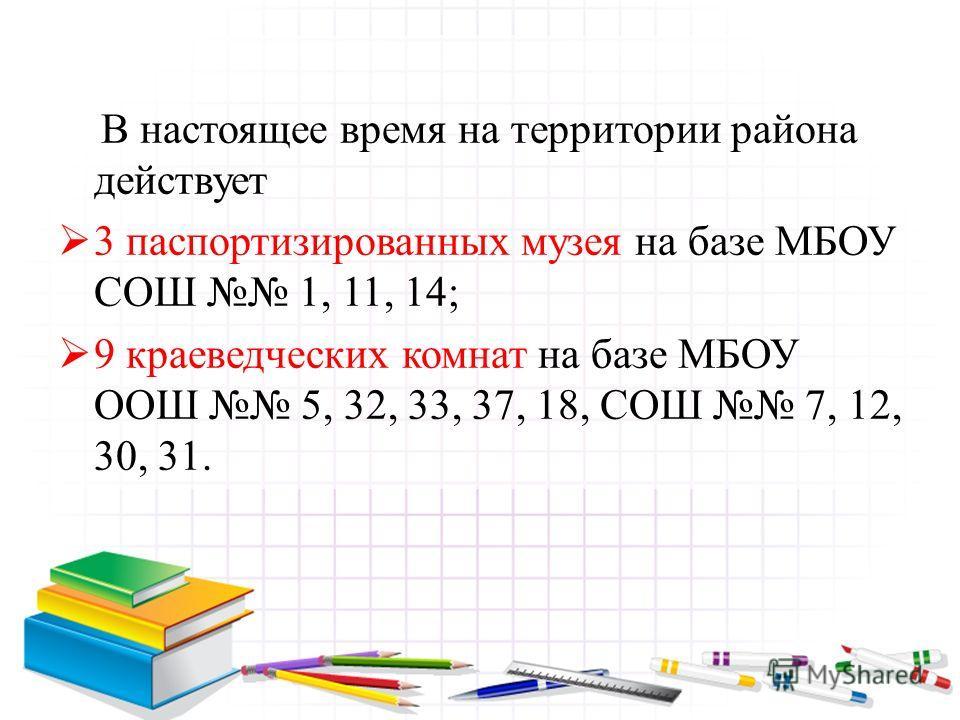 В настоящее время на территории района действует 3 паспортизированных музея на базе МБОУ СОШ 1, 11, 14; 9 краеведческих комнат на базе МБОУ ООШ 5, 32, 33, 37, 18, СОШ 7, 12, 30, 31.