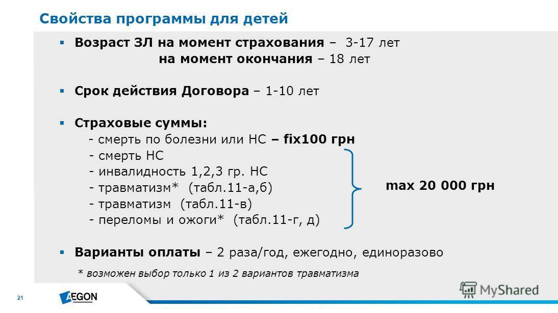 21 Возраст ЗЛ на момент страхования – 3-17 лет на момент окончания – 18 лет Срок действия Договора – 1-10 лет Страховые суммы: - смерть по болезни или НС – fix100 грн - смерть НС - инвалидность 1,2,3 гр. НС - травматизм* (табл.11-а,б) - травматизм (т
