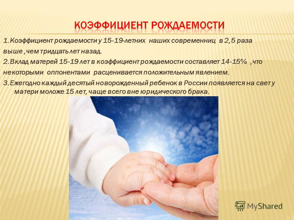 1.Коэффициент рождаемости у 15-19-летних наших современниц в 2,5 раза выше,чем тридцать лет назад. 2.Вклад матерей 15-19 лет в коэффициент рождаемости составляет 14-15,что некоторыми оппонентами расценивается положительным явлением. 3.Ежегодно каждый