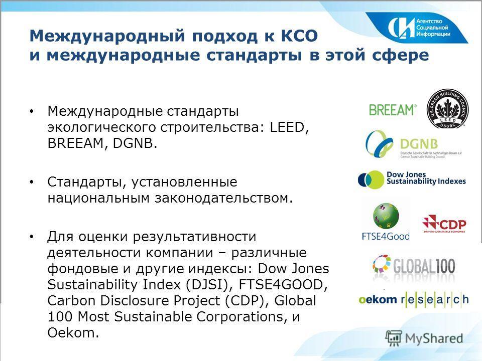 Международный подход к КСО и международные стандарты в этой сфере Международные стандарты экологического строительства: LEED, BREEAM, DGNB. Стандарты, установленные национальным законодательством. Для оценки результативности деятельности компании – р