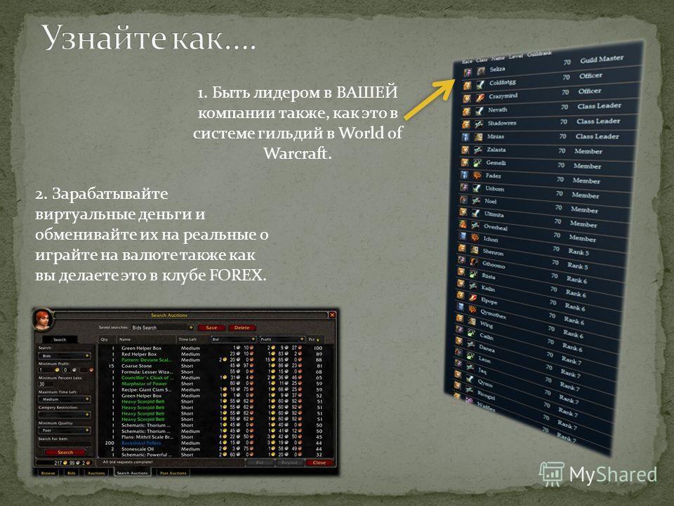 1. Быть лидером в ВАШЕЙ компании также, как это в системе гильдий в World of Warcraft. 2. Зарабатывайте виртуальные деньги и обменивайте их на реальные о играйте на валюте также как вы делаете это в клубе FOREX.