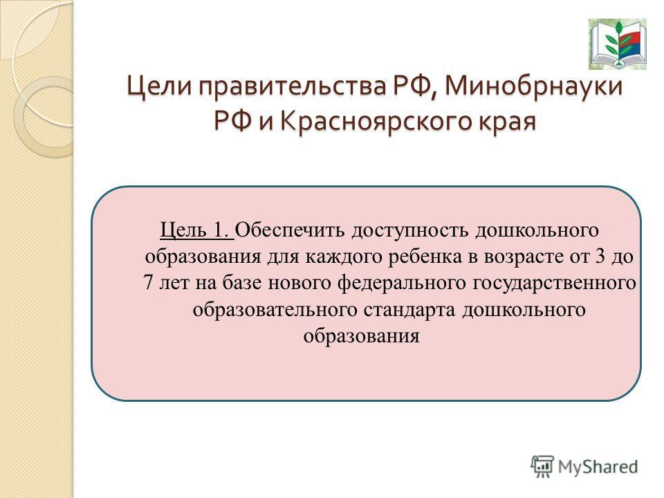 Цели правительства РФ, Минобрнауки РФ и Красноярского края Цель 1. Обеспечить доступность дошкольного образования для каждого ребенка в возрасте от 3 до 7 лет на базе нового федерального государственного образовательного стандарта дошкольного образов