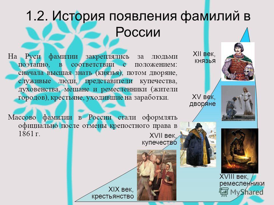 На Руси фамилии закреплялись за людьми поэтапно, в соответствии с положением: сначала высшая знать (князья), потом дворяне, служивые люди, представители купечества, духовенства, мещане и ремесленники (жители городов), крестьяне, уходившие на заработк