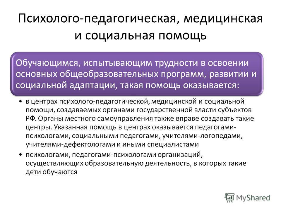 Психолого-педагогическая, медицинская и социальная помощь