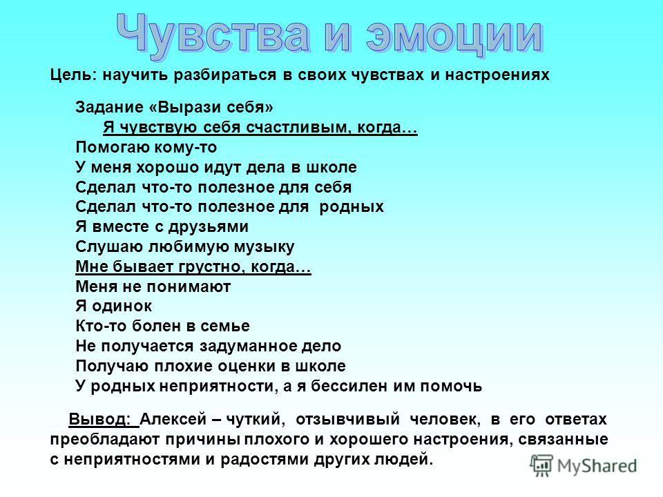 Цель: научить разбираться в своих чувствах и настроениях Вывод: Алексей – чуткий, отзывчивый человек, в его ответах преобладают причины плохого и хорошего настроения, связанные с неприятностями и радостями других людей. Задание «Вырази себя» Я чувств