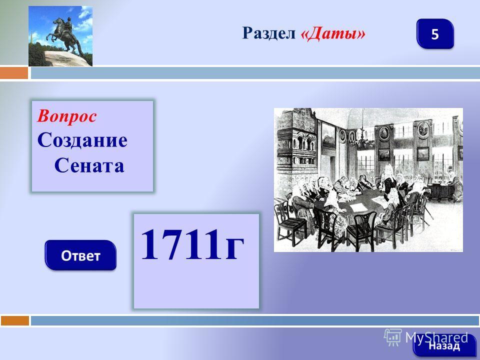 Вопрос Создание Сената Раздел «Даты» 1711г