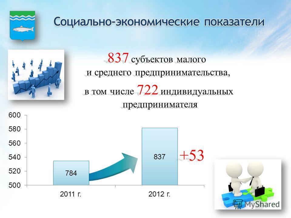 837 субъектов малого и среднего предпринимательства, в том числе 722 индивидуальных предпринимателя предпринимателя +53