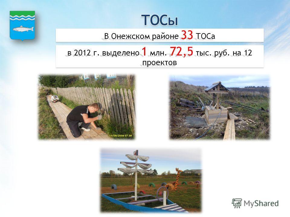 В Онежском районе 33 ТОСа в 2012 г. выделено 1 млн. 72,5 тыс. руб. на 12 проектов