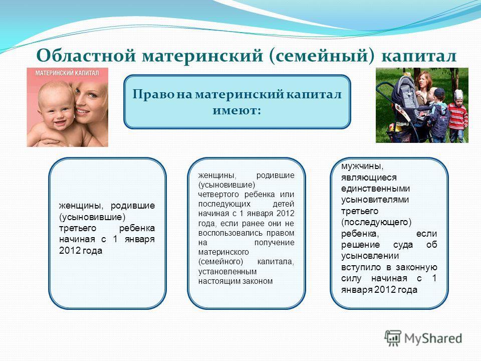 Областной материнский (семейный) капитал Право на материнский капитал имеют: женщины, родившие (усыновившие) третьего ребенка начиная с 1 января 2012 года женщины, родившие (усыновившие) четвертого ребенка или последующих детей начиная с 1 января 201