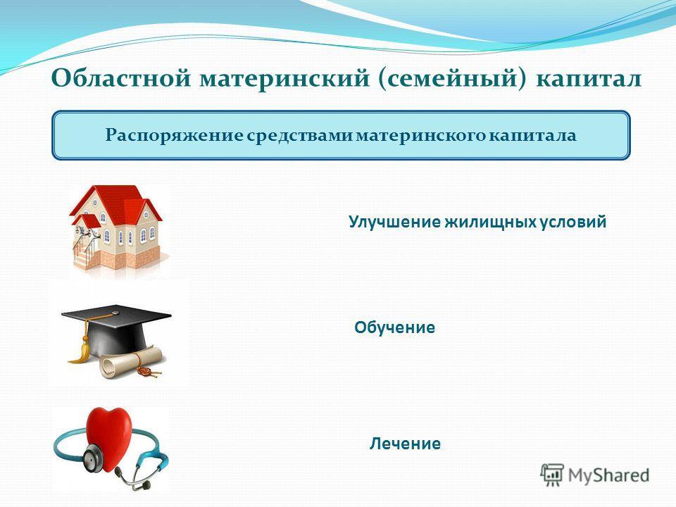 Областной материнский (семейный) капитал Распоряжение средствами материнского капитала Улучшение жилищных условий Обучение Лечение