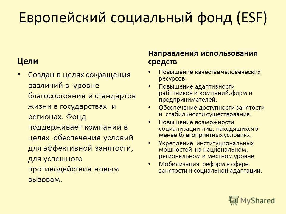 Европейский социальный фонд (ESF) Цели Создан в целях сокращения различий в уровне благосостояния и стандартов жизни в государствах и регионах. Фонд поддерживает компании в целях обеспечения условий для эффективной занятости, для успешного противодей