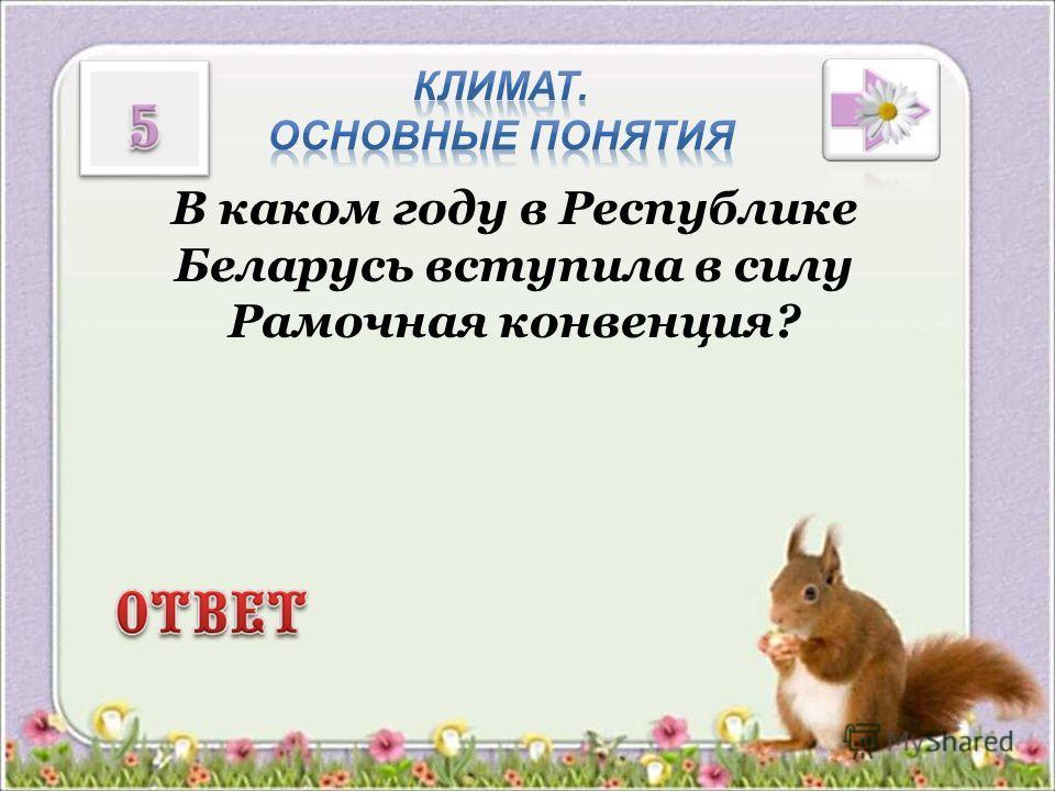 В каком году в Республике Беларусь вступила в силу Рамочная конвенция?