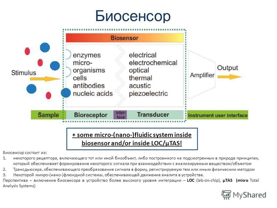 Биосенсор + some micro-(nano-)fluidic system inside biosensor and/or inside LOC/µTAS! Биосенсор состоит из: 1.некоторого рецептора, включающего тот или иной биообъект, либо построенного на подсмотренных в природе принципах, который обеспечивает форми