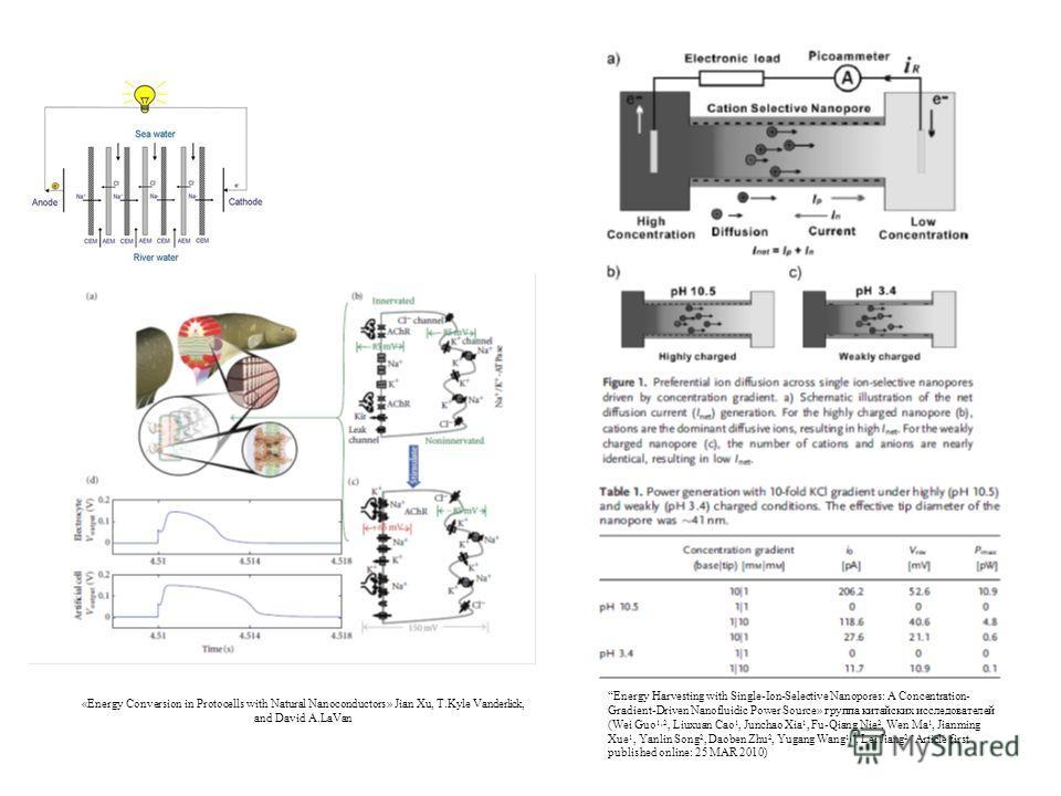 Energy Harvesting with Single-Ion-Selective Nanopores: A Concentration- Gradient-Driven Nanofluidic Power Source» группа китайских исследователей (Wei Guo 1,2, Liuxuan Cao 1, Junchao Xia 1, Fu-Qiang Nie 2, Wen Ma 1, Jianming Xue 1, Yanlin Song 2, Dao