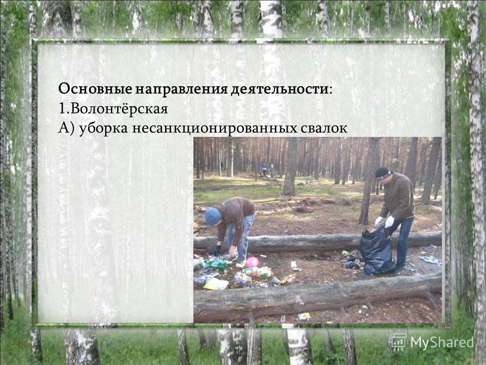 Основные направления деятельности: 1.Волонтёрская А) уборка несанкционированных свалок