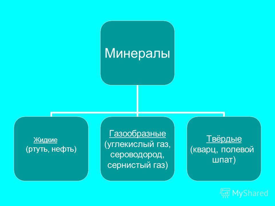 Минералы Минералы (ртуть, нефть) Газообразные (углекислый газ, сероводород, сернистый газ) Твёрдые (кварц, полевой шпат) Жидкие