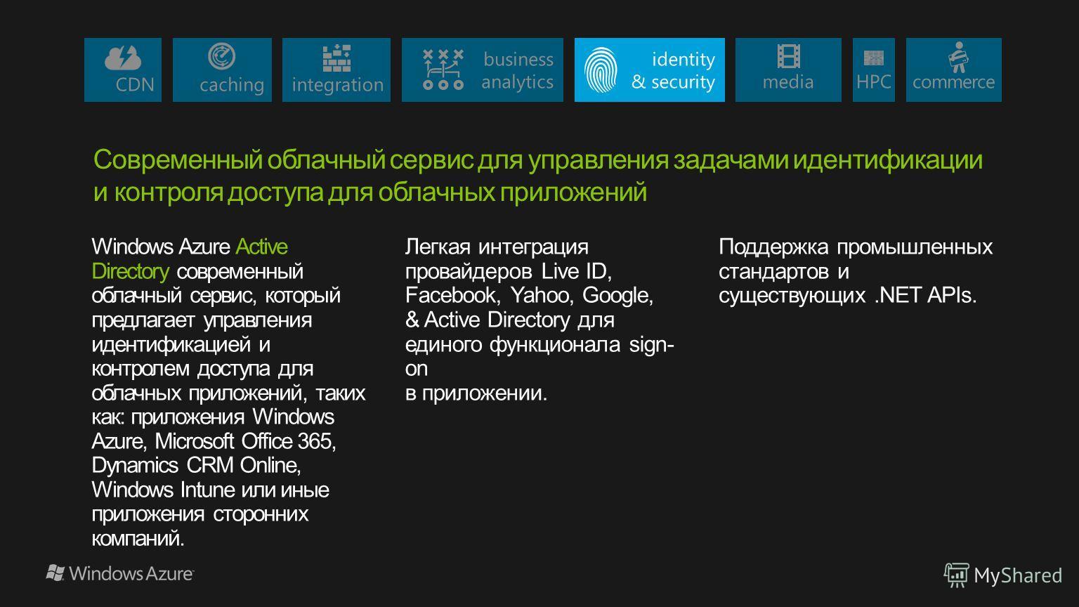 Windows Azure Active Directory современный облачный сервис, который предлагает управления идентификацией и контролем доступа для облачных приложений, таких как: приложения Windows Azure, Microsoft Office 365, Dynamics CRM Online, Windows Intune или и