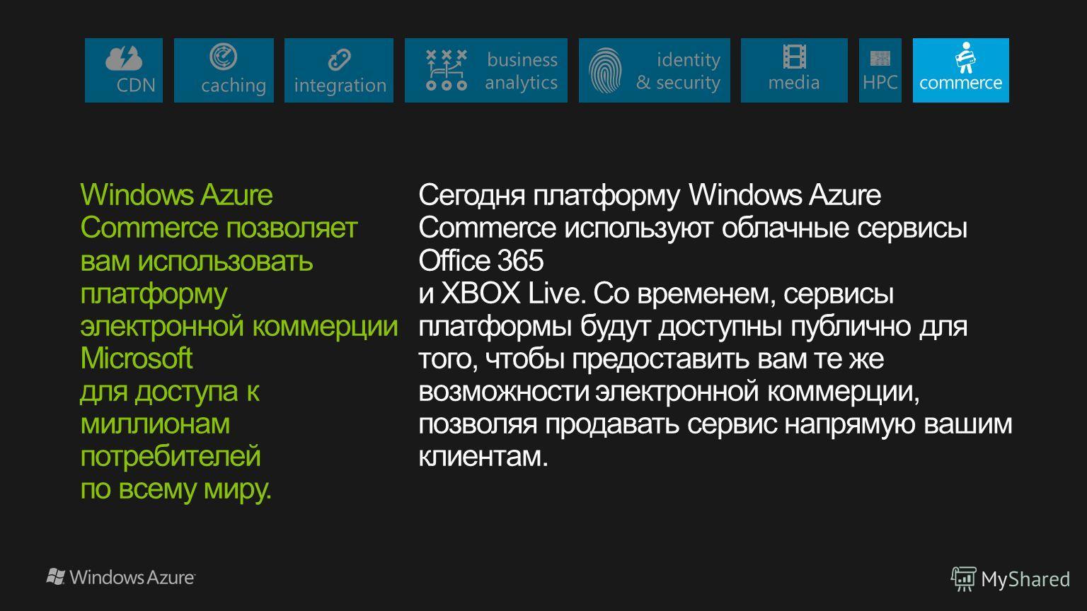 Windows Azure Commerce позволяет вам использовать платформу электронной коммерции Microsoft для доступа к миллионам потребителей по всему миру. Сегодня платформу Windows Azure Commerce используют облачные сервисы Office 365 и XBOX Live. Со временем,