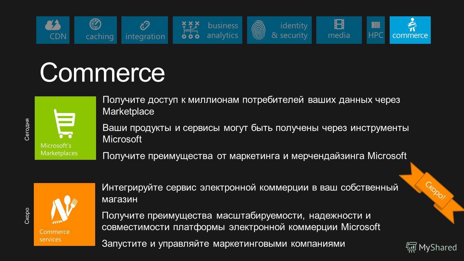 CDNcaching identity & security business analyticscommercemedia integration HPC Commerce Получите доступ к миллионам потребителей ваших данных через Marketplace Ваши продукты и сервисы могут быть получены через инструменты Microsoft Получите преимущес