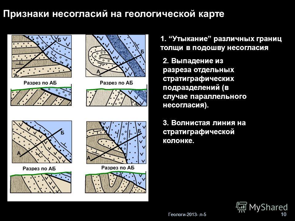 Геологи-2013- л-5 10 Признаки несогласий на геологической карте 1. Утыкание различных границ толщи в подошву несогласия 2. Выпадение из разреза отдельных стратиграфических подразделений (в случае параллельного несогласия). 3. Волнистая линия на страт
