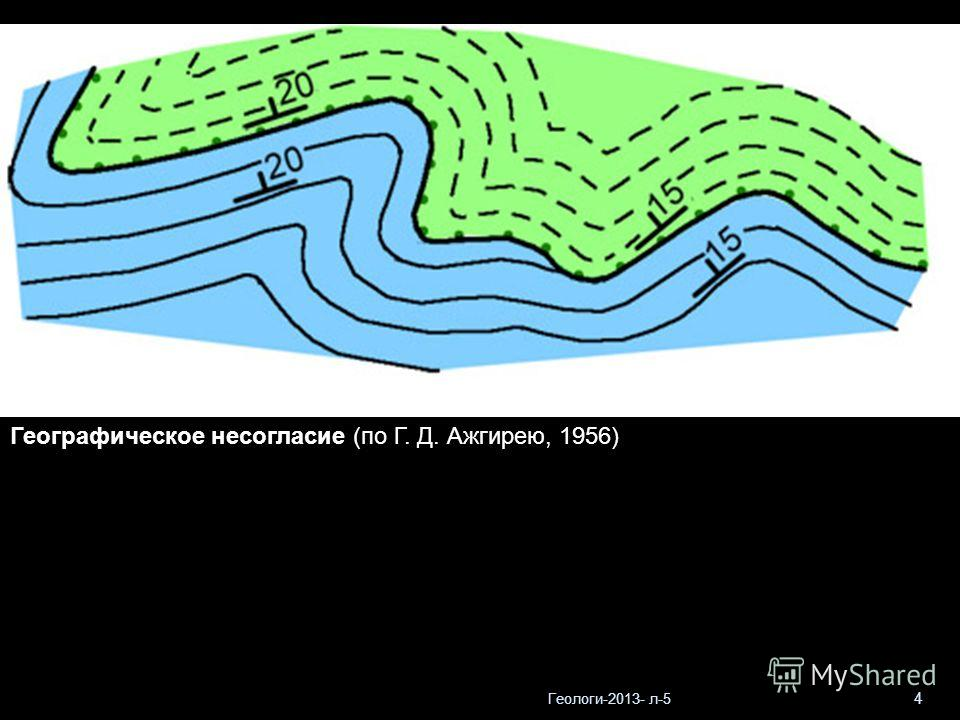 Геологи-2013- л-5 4 Географическое несогласие (по Г. Д. Ажгирею, 1956)