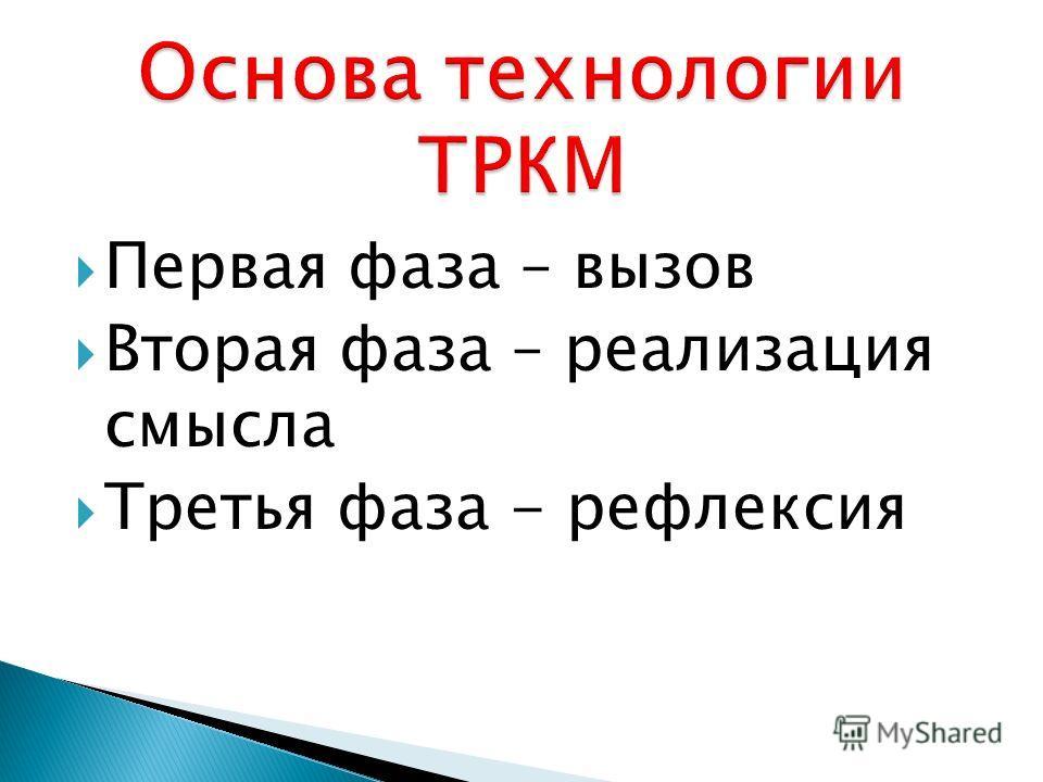 Первая фаза – вызов Вторая фаза – реализация смысла Третья фаза - рефлексия