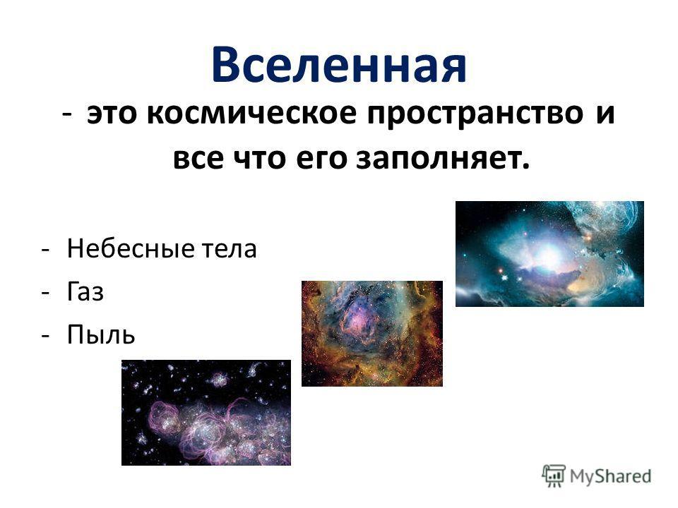 Вселенная -это космическое пространство и все что его заполняет. -Небесные тела -Газ -Пыль