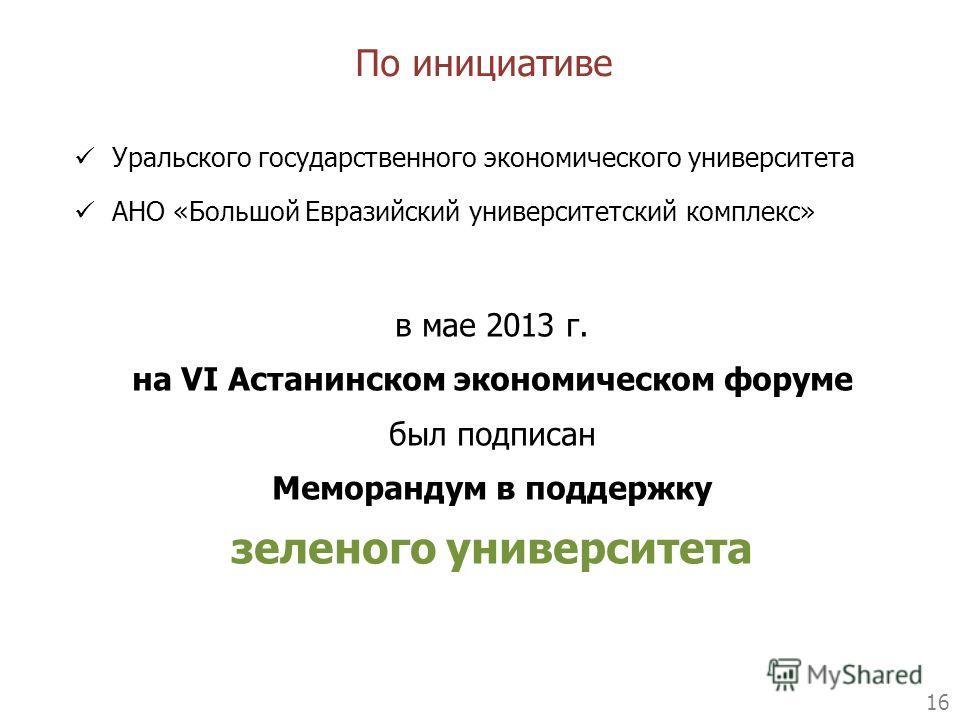 16 Уральского государственного экономического университета АНО «Большой Евразийский университетский комплекс» По инициативе в мае 2013 г. на VI Астанинском экономическом форуме был подписан Меморандум в поддержку зеленого университета