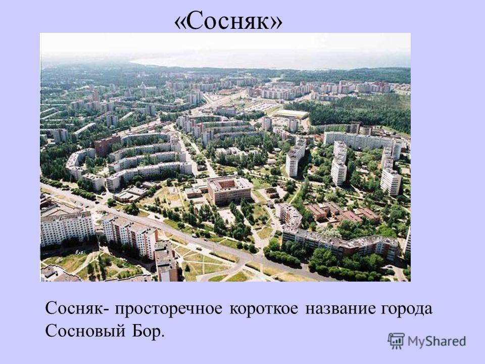 «Сосняк» Сосняк- просторечное короткое название города Сосновый Бор.