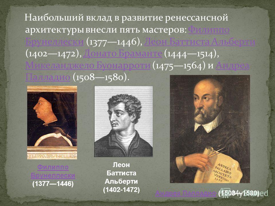 Наибольший вклад в развитие ренессансной архитектуры внесли пять мастеров: Филиппо Брунеллески (13771446), Леон Баттиста Альберти (14021472), Донато Браманте (14441514), Микеланджело Буонарроти (14751564) и Андреа Палладио (15081580).Филиппо Брунелле