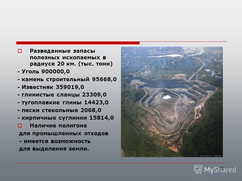 Разведанные запасы полезных ископаемых в радиусе 20 км. (тыс. тонн) - Уголь 900000,0 - камень строительный 95668,0 - Известняк 359019,0 - глинистые сланцы 23309,0 - тугоплавкие глины 14423,0 - пески стекольные 2068,0 - кирпичные суглинки 15814,0 Нали