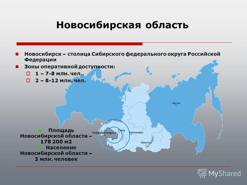 Новосибирск – столица Сибирского федерального округа Российской Федерации Зоны оперативной доступности: 1 – 7-8 млн. чел., 2 – 8-12 млн. чел. Площадь Новосибирской области – 178 200 м2 Население Новосибирской области – 3 млн. человек Новосибирская об
