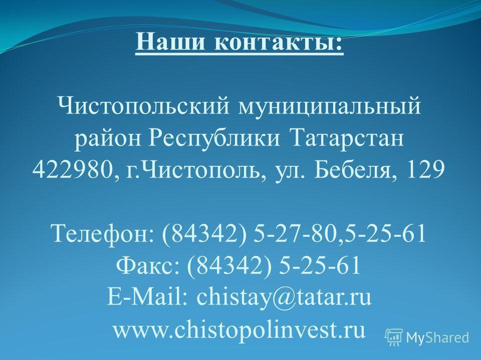 Наши контакты: Чистопольский муниципальный район Республики Татарстан 422980, г.Чистополь, ул. Бебеля, 129 Телефон: (84342) 5-27-80,5-25-61 Факс: (84342) 5-25-61 E-Mail: chistay@tatar.ru www.chistopolinvest.ru