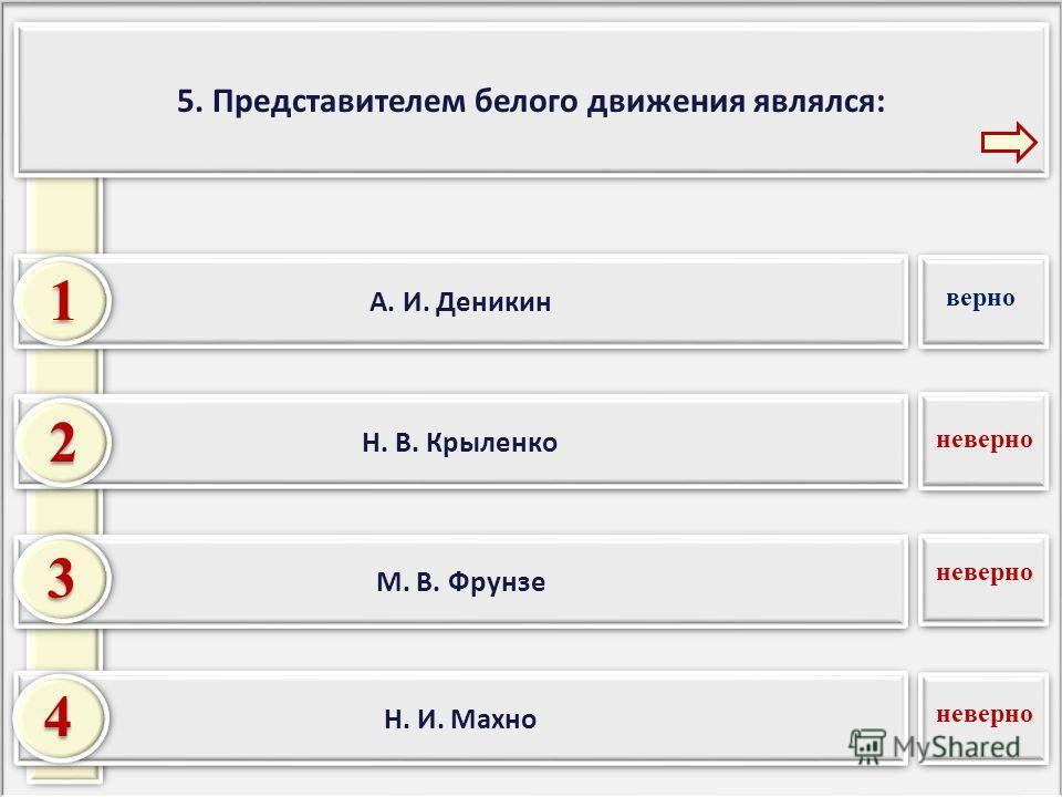 5. Представителем белого движения являлся: Н. И. Махно М. В. Фрунзе Н. В. Крыленко 2 3 4 А. И. Деникин 1 неверно верно неверно