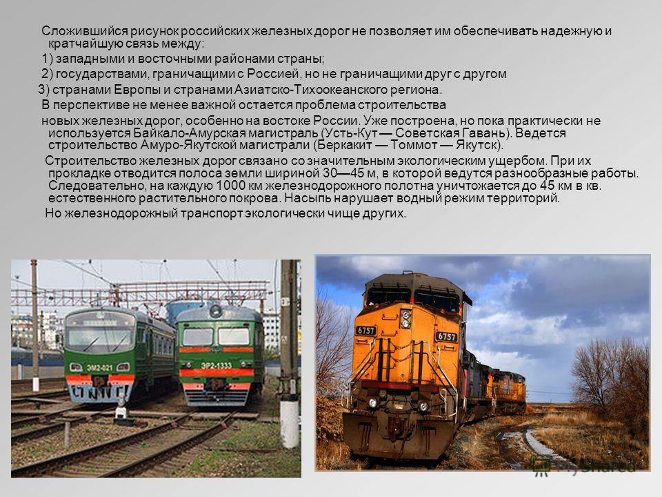 Сложившийся рисунок российских железных дорог не позволяет им обеспечивать надежную и кратчайшую связь между: 1) западными и восточными районами страны; 2) государствами, граничащими с Россией, но не граничащими друг с другом 3) странами Европы и стр